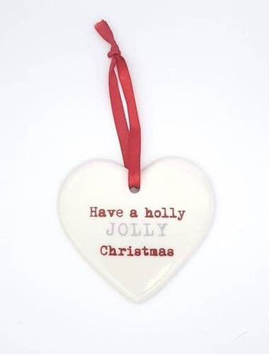 Ceramic Christmas hearts - have a holly jolly christmas